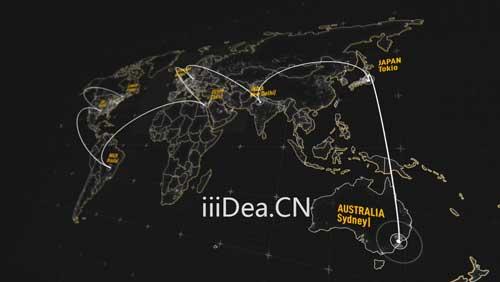 27809779 004 - AE模板 - 三维世界地图绑定连线文字标注动画项目