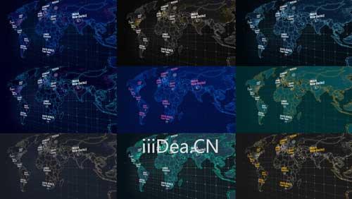 27809779 006 - AE模板 - 三维世界地图绑定连线文字标注动画项目
